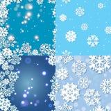 Sneeuwvlokpatroon Naadloze VectorTextuur Het concept van Kerstmis en van het Nieuwjaar Stock Fotografie