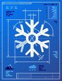 Sneeuwvloksymbool zoals blauwdruktekening Royalty-vrije Stock Foto's