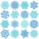 Sneeuwvlokvectoren. 16 geïsoleerd op witte achtergrond Royalty-vrije Stock Foto's