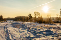 Sneeuwweg bij sunrise_8 Stock Foto