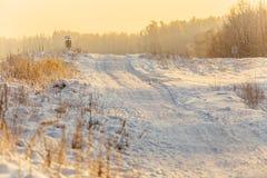 Sneeuwweg bij sunrise_7 Stock Foto's