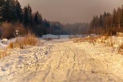 Sneeuwweg bij sunrise_6 Stock Foto