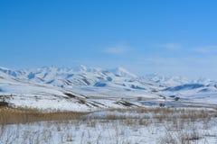 Sneeuwwitte bergen met een heuvel Blauwe hemel Bruine vegetatie Bergen 'Alatau ' royalty-vrije stock afbeelding