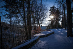 Sneeuwzonsondergang Stock Foto