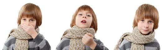 Sneeze boy isolated Stock Photo
