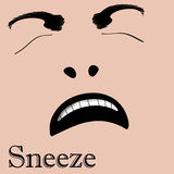 Sneeze face Stock Photography