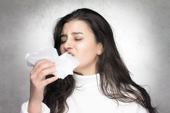 Sneeze. Seasonal Cold. Flu Stock Images