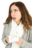 Sneezing flu woman Stock Images