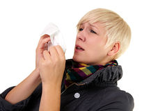 Sneezing girl Stock Photography