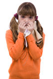 Sneezing. Girl is sick and have sore throat Royalty Free Stock Image