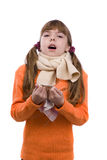 Sneezing. Girl is sick and have sore throat. Sneezing. Little girl on white background in winter clothing is sick. Female have sore throat and sneezing royalty free stock image