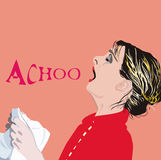 Sneezing. An illustration of a sneezing woman, while holding a  handkerchief in her hands. With text Stock Images