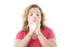 Sneezing louro Fotografia de Stock