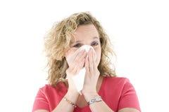 Sneezing louro Imagem de Stock Royalty Free
