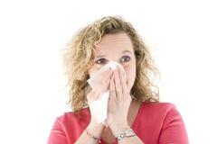 Sneezing louro Fotografia de Stock Royalty Free
