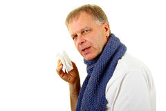 Sneezing man Stock Photo