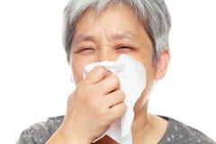 Sneezing woman Royalty Free Stock Photos