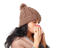 Sneezing woman Royalty Free Stock Photo