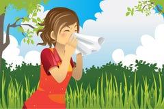 Sneezing woman stock illustration