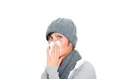 Sneezing woman Stock Photos