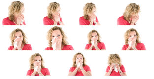 Sneezing woman collection Stock Photos