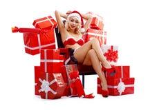 Snehurochka, Santa Claus woman, beautiful blonde, sexy, attracti 2018 Stock Photos
