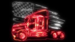 Snel Bewegende Amerikaanse Vrachtwagen De animatie van de beeldverhaallaser royalty-vrije illustratie