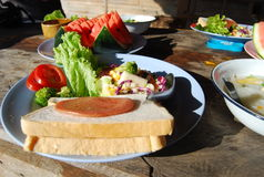 Snel gekweekt gek & x28; sandwich en salad& x29; in de stijl van Azië Royalty-vrije Stock Afbeeldingen