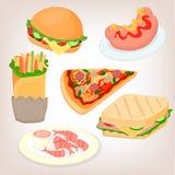 Snel geplaatst voedsel: cheeseburger, sandwich, worst, garnalen Stock Afbeelding