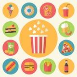 Snel geplaatste voedsel vectorpictogrammen Stock Foto's