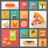 Snel geplaatste voedsel vectorpictogrammen Stock Afbeelding