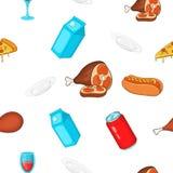 Snel snackpatroon, beeldverhaalstijl Stock Foto