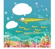 Snel vissen onderwater, blauwe oceaan, kleurrijke shells, koraalriffen onderwater - vectorillustratiebeeldverhaal royalty-vrije illustratie