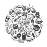 Snel Voedsel, Cirkel Stock Afbeelding