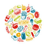 Snel Voedsel, Cirkel Royalty-vrije Stock Foto
