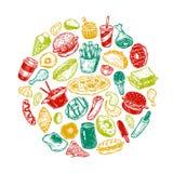 Snel Voedsel, Cirkel Royalty-vrije Stock Foto's