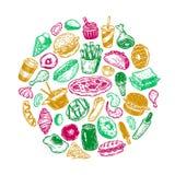 Snel Voedsel, Cirkel Stock Foto's