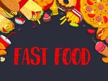 Snel voedsel de vectorfastfood affiche van de snacksmaaltijd Stock Foto