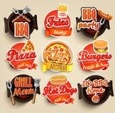 Snel voedsel en BBQ Grillelementen Stock Foto
