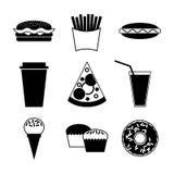 Snel voedsel en drankpictogram op witte achtergrond Stock Foto's