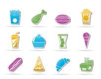 Snel voedsel en drankpictogrammen Stock Afbeeldingen