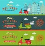 Snel voedsel en pizzaleveringsbanners geplaatst vlakke illustratie Stock Foto