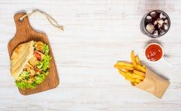 Snel Voedsel met Exemplaarruimte Stock Foto's