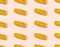 Snel voedsel naadloos patroon met hotdog Stock Afbeelding