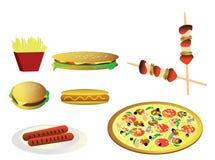 Snel voedsel (ongezonde kost) illustratie Stock Fotografie
