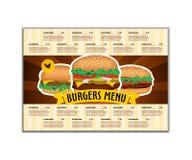 Snel voedsel of van het burgersmenu ontwerpmalplaatje in A4 grootte Brochure en Lay-outontwerp vector illustratie