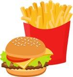 Snel voedsel vastgestelde hamburger en frieten op witte achtergrond royalty-vrije illustratie