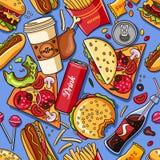 Snel voedsel Vector naadloos patroon Vector Illustratie