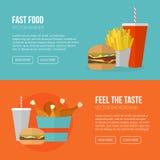 Snel Voedsel Vectorconcept Lunchfrieten, kip, doughnut, pi Stock Fotografie