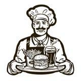 Snel voedsel vectorembleem restaurant, kok, chef-kokpictogram Royalty-vrije Stock Afbeelding
